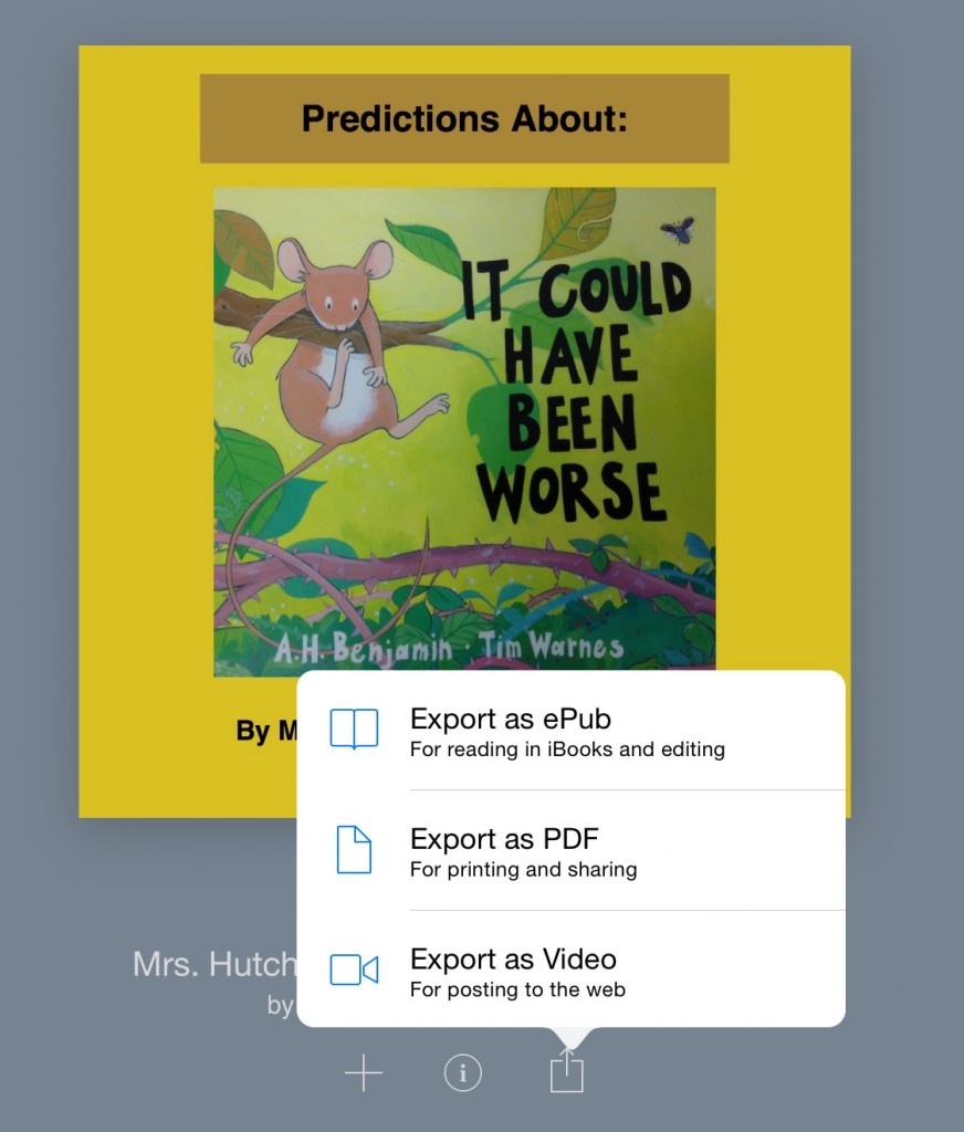 Book Creator saving options