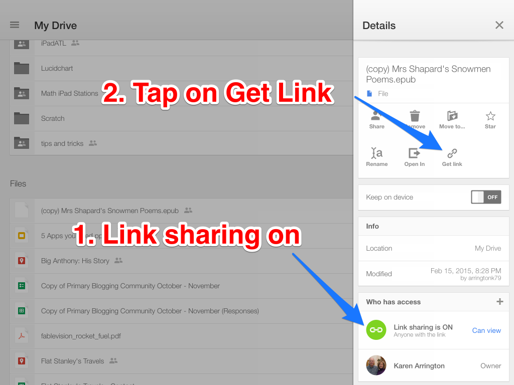 Link sharing on then get link