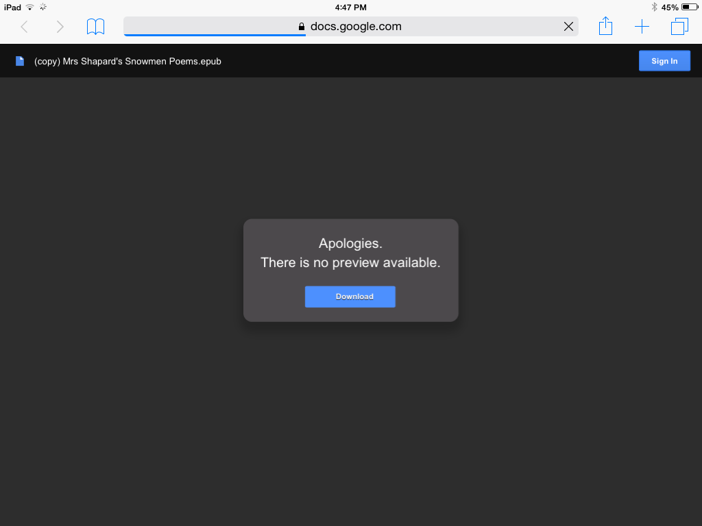 Screen shot when downloading ePub book from Drive