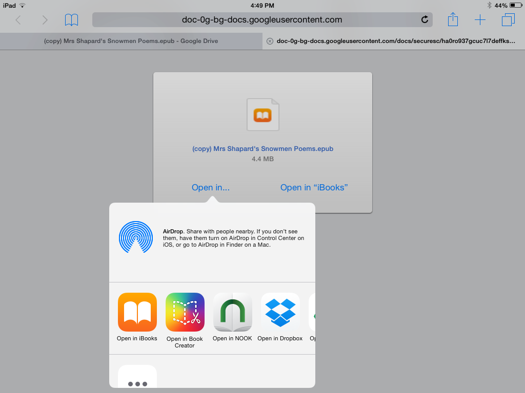 Opening The Book In Other Apps